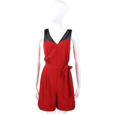 MOSCHINO 黑x紅色拼接設計綁帶連身褲