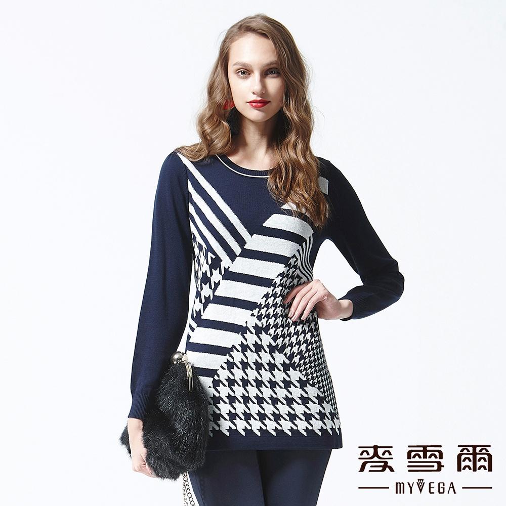 麥雪爾 千鳥格紋長版針織上衣-藍