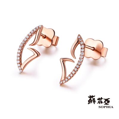 蘇菲亞SOPHIA 鑽石耳環 - 愛的羽翼玫瑰金鑽石耳環 14K