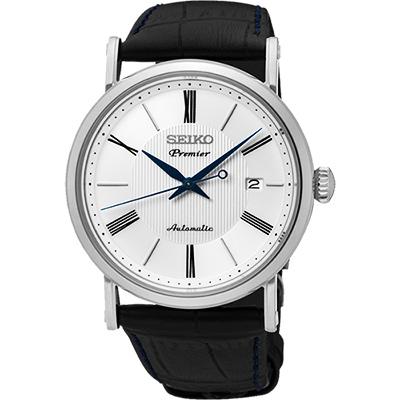 SEIKO 精工 Premier 系列超薄機械腕錶(SRPA17J2)-白/40mm