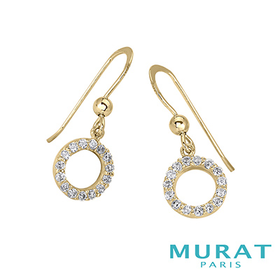 MURAT Paris米哈巴黎 優雅圓環滿鑽埀吊耳環(金色款)