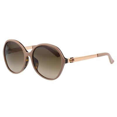 GUCCI-紅綠緹花布 太陽眼鏡(粉膚色)