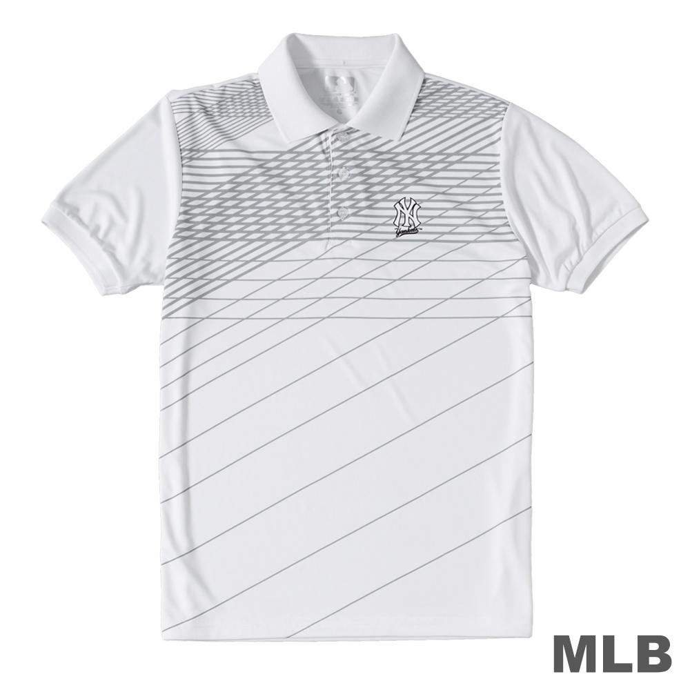 MLB-紐約洋基隊條紋印花POLO衫-白 (男)