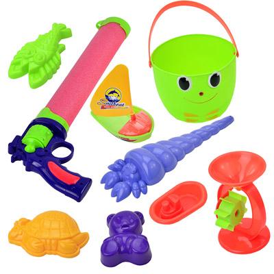 夏日戲水組 戲水沙灘玩具套裝組+左輪造型伸縮水槍(顏色隨機)