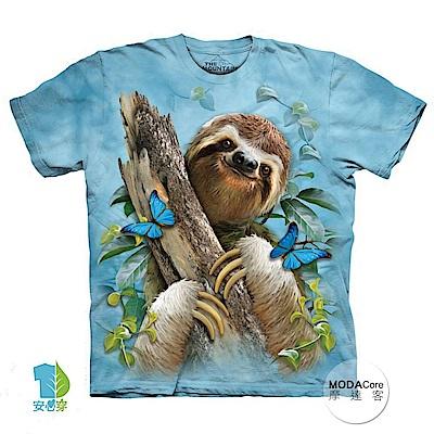 摩達客 美國進口The Mountain 樹懶與蝴蝶 純棉環保短袖T恤