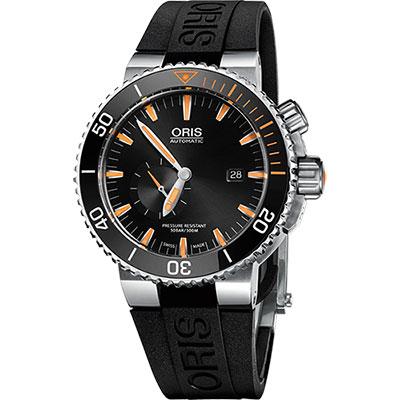 Oris Carlos Coste 專業500米潛水限量錶-橘時標x黑/46mm