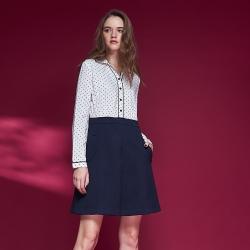 Chaber巧帛 氣質襯衫領點點印花假兩件拼接造型洋裝-白