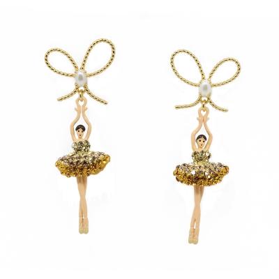 Les Nereides 優雅芭蕾舞女孩系列 優雅蝴蝶結透亮金色水鑽女孩耳環