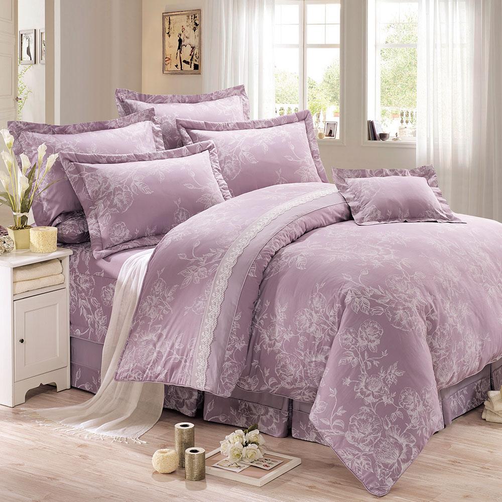 鴻宇HongYew 300織精梳棉-卡洛琳 雙人七件式兩用被床罩組