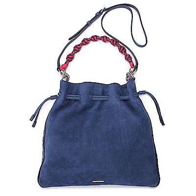 Rebecca Minkoff 編織肩背帶麂皮抽繩束口肩背/斜背二用包-中/海軍藍色