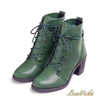 LisaVicky 嬉皮混搭綁帶粗高跟短靴-墨綠色