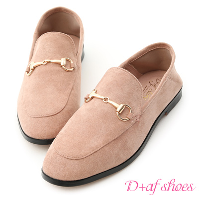 D+AF 輕奢品味.馬銜釦後踩式絨料紳士便鞋*粉杏