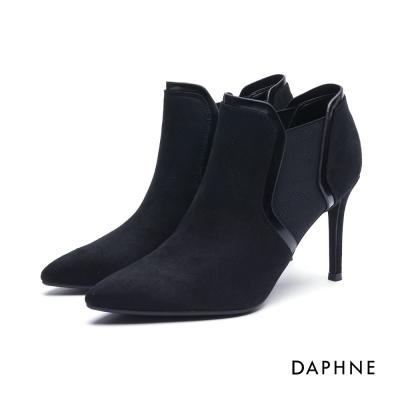 達芙妮DAPHNE 短靴-拼接幾何絨布細高跟踝靴-黑