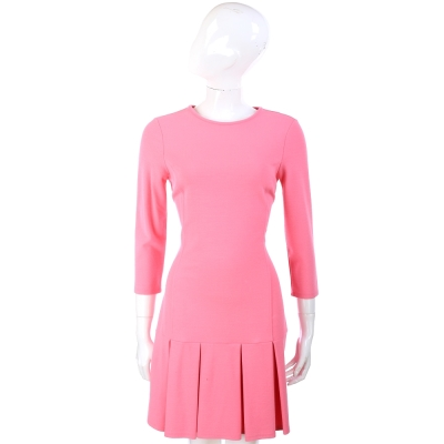 BLUGIRL 粉紅色抓褶設計七分袖洋裝