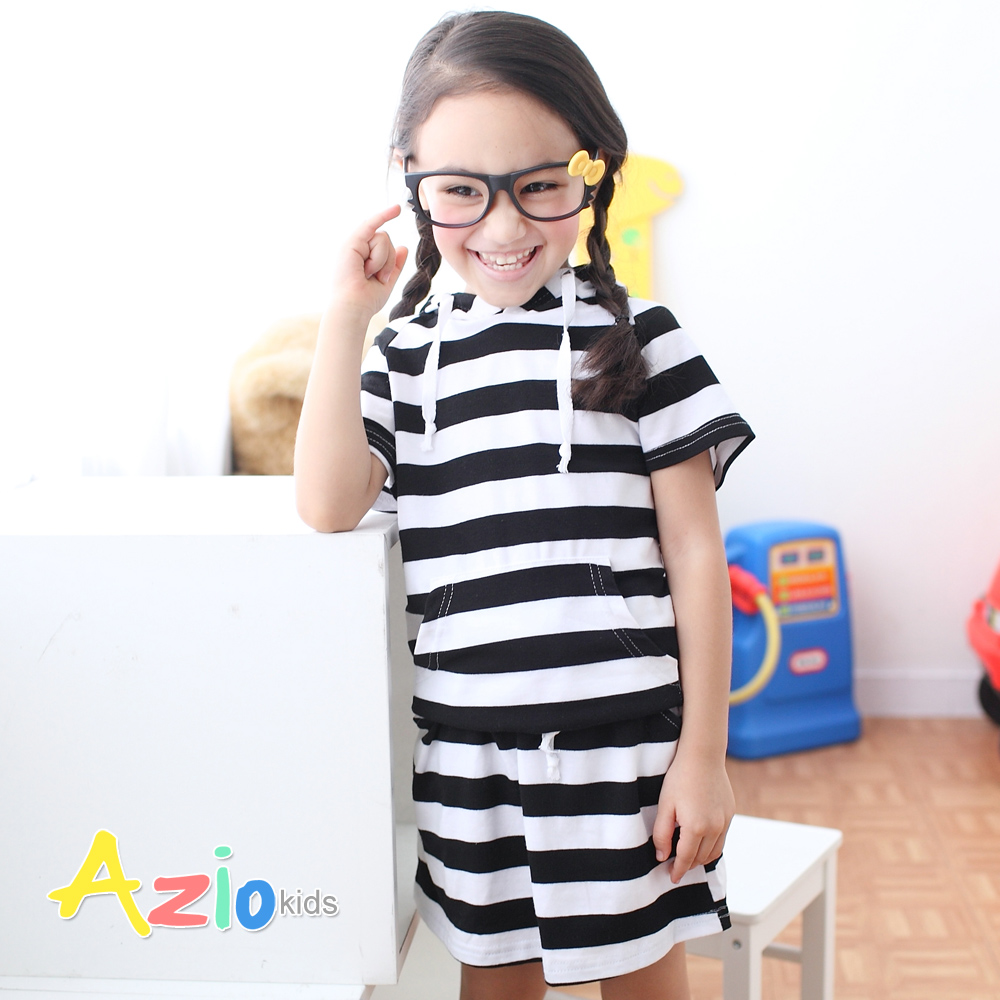 Azio Kids-袋鼠口袋連帽上衣(黑條衣)