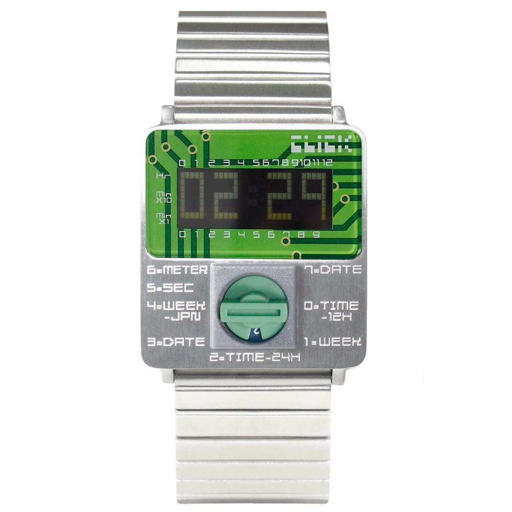 CLICK TURN 創意電路板個性電子腕錶-銀鋼綠