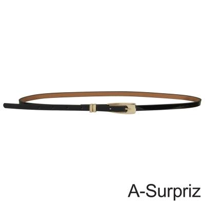 A-Surpriz 俐落優雅亮皮細版腰帶(黑)