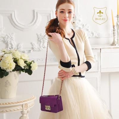 義大利BGilio - 十字紋牛皮俏麗晚宴手提鏈帶包 - 紫色 1692.006