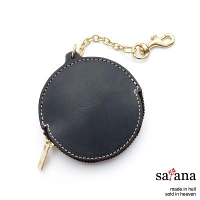 satana-手工真皮-圓點零錢包-黑色