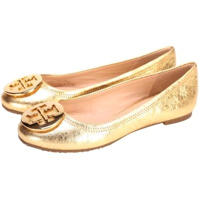 TORY-BURCH-REVA-盾牌平底娃娃鞋-金