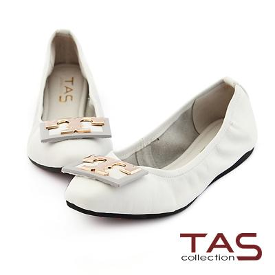 TAS T字金屬方型釦飾娃娃鞋-簡約白