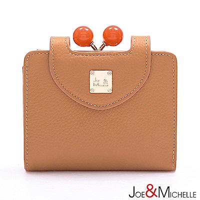 J&M 真皮愛蜜莉框釦短夾 珊瑚橘