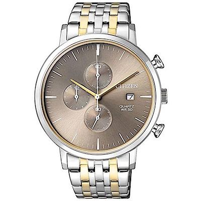 CITIZEN星辰 都會潮流風尚三眼計時石英腕錶 (AN3614-54X)- 棕/41mm