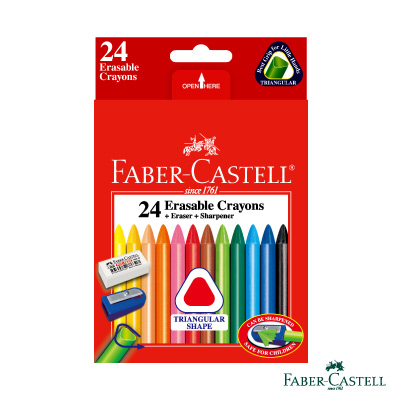 Faber-Castell三角擦擦蠟筆 24色