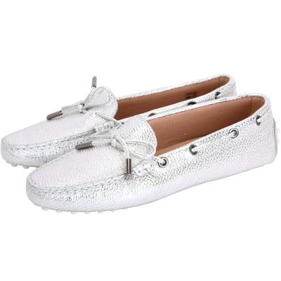 TOD'S Heaven Driving 壓紋綁帶豆豆休閒鞋(女鞋/銀色)