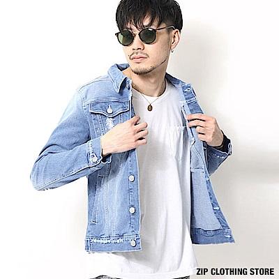 刷破牛仔夾克外套(2色) ZIP日本男裝