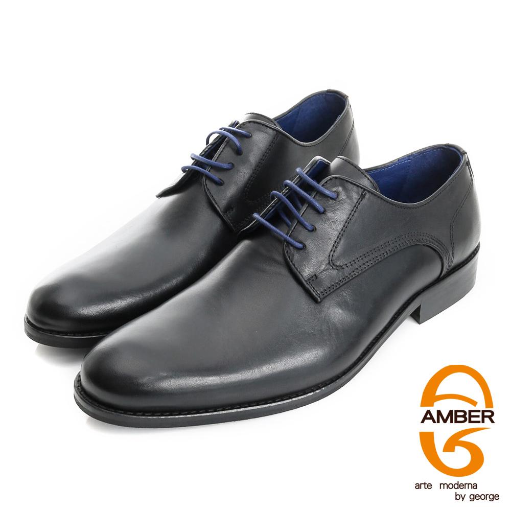 【AMBER】尊榮時尚 葡萄牙進口真皮綁帶紳士鞋皮鞋(男)-黑色