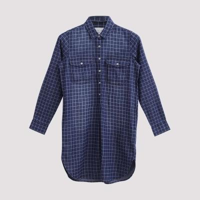 Hang Ten女裝拔印格紋丹寧襯衫洋裝-藍