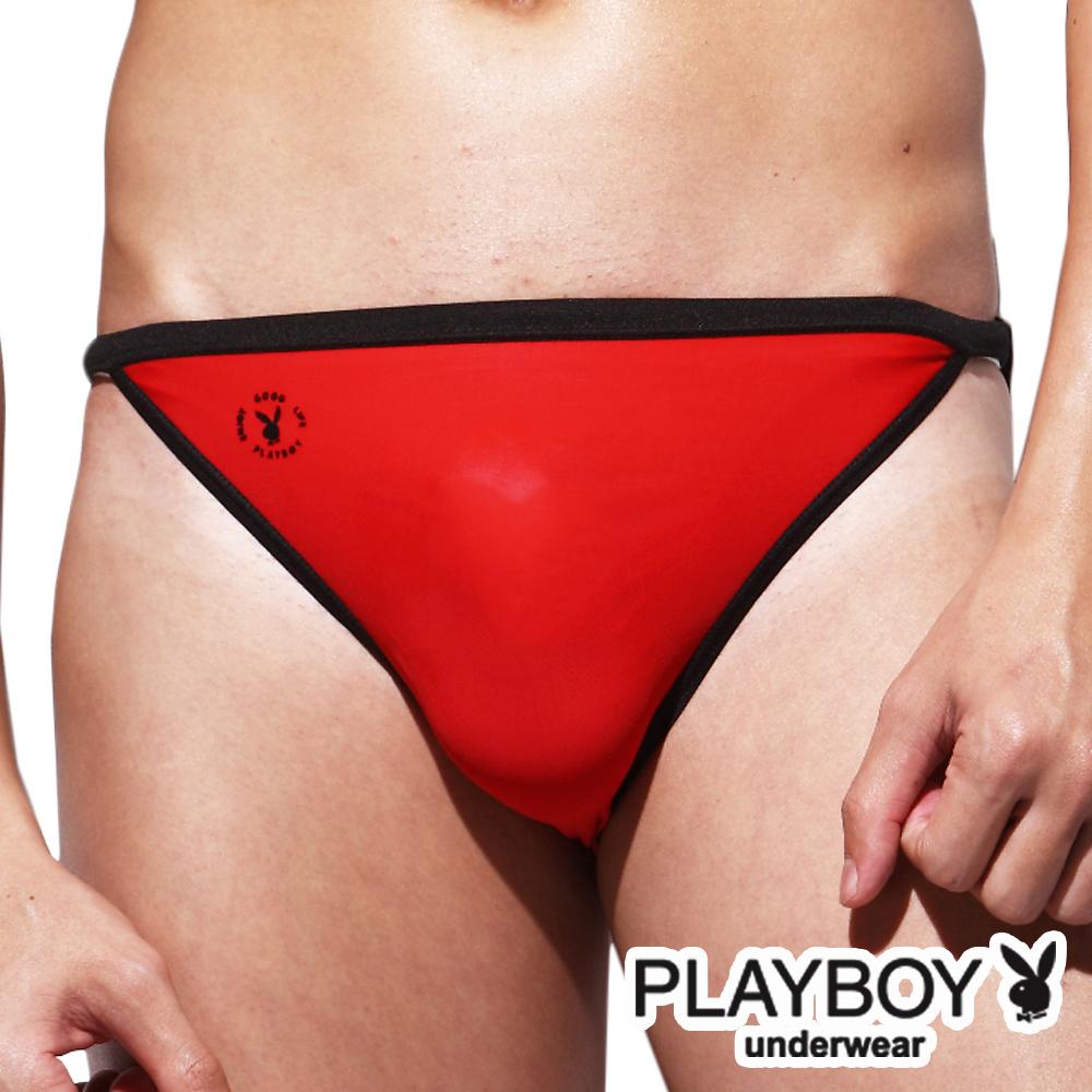PlayBoy 萊卡經典款超細纖維高叉三角褲-單件(紅)