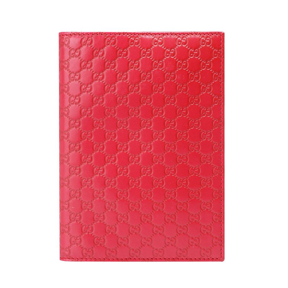 GUCCI 經典microguccissima皮革GG壓紋筆記本(紅)