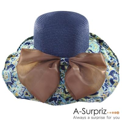 A-Surpriz 浪漫佳人蝴蝶結圖騰布遮陽帽(高雅藍)