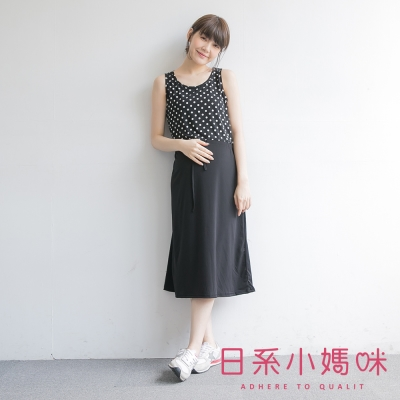 日系小媽咪孕婦裝-韓製孕婦裝-腰抽繩點點x素面無袖