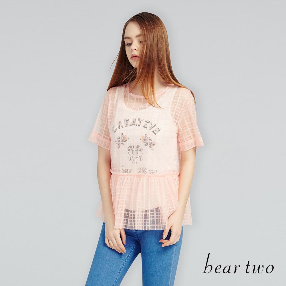 beartwo俏麗兩件式微透格紋上衣 (二色)