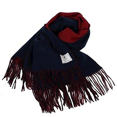 agnes b.-SPORT b.白標logo 流蘇雙面大披肩/圍巾/紅&藍