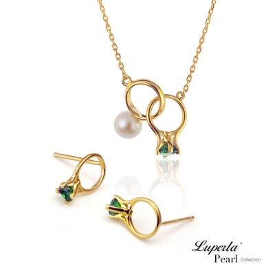 大東山珠寶 珍珠純銀項鍊耳環套組 頸間的悸動 孔雀綠
