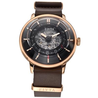 FIYTA飛亞達3D立體讀時機械錶(WGA868000.PBR)-棕色/45mm