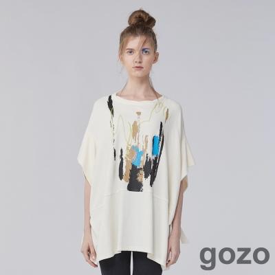 gozo 隨性創作筆刷印花寬袖上衣(二色)