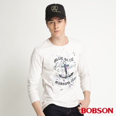 BOBSON 男款印圖長袖上衣(灰72)