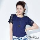 Victoria 優雅蝴蝶結蕾絲拼接衫-女-丈青
