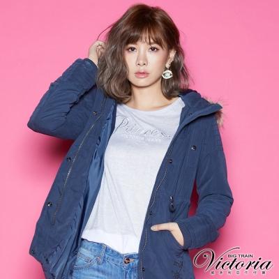 Victoria 軍裝風格長版舖棉外套-女-深藍色