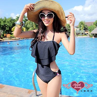 泳衣 簡約時尚 一件式連身泳裝(黑M.L) AngelHoney天使霓裳
