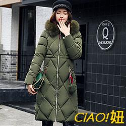 大毛領連帽加厚羽絨棉外套 (共三色)-CIAO妞