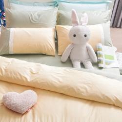OLIVIA 果綠 白 鵝黃  單人床包枕套兩件組 素色無印