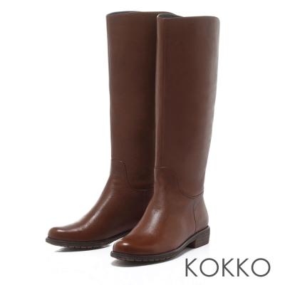 KOKKO彈力彎折質感真皮拉鍊平底長靴咖
