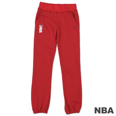 NBA-經典NBA LOGO印花休閒棉質長褲-深紅(女)
