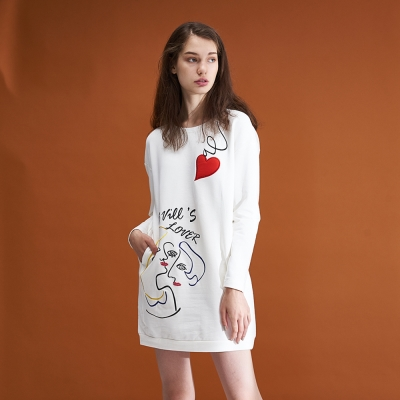 ICHE衣哲 時尚印花長袖造型上衣洋裝(兩穿)-白